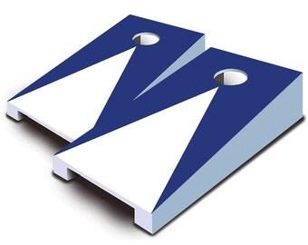 Navy Blue Pyramid Tabletop Cornhole Board Set.