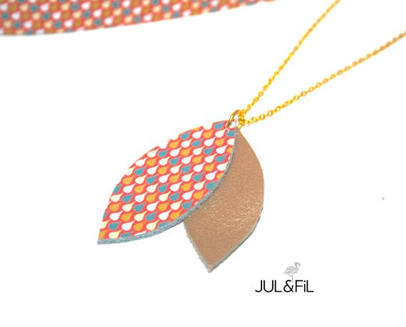 Necklace leather gold and gold plated 18K, Japanese pattern