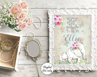 Digital Custom Elephant Baby Initials Print - E Is for... Personalized,Nursery Print,Bedroom,Kids,Gift,Baby Gift
