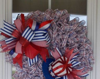 4th of July Wreath, Patriotic Wreath, America Wreath, Memorial Day Wreath, Patriotic Top Hat Wreath,Red-White & Blue Wreath,Patriotic Decor