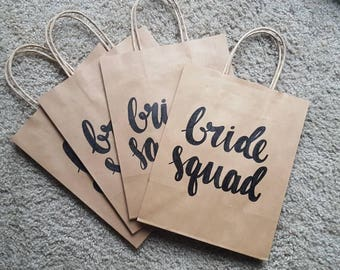 Bride squad gift bag - Custom Gift Bag - Bachelorette Party Gift Bag - Bridal Party Gift Bags - Wedding Gift Bag - Craft Paper Gift Bag