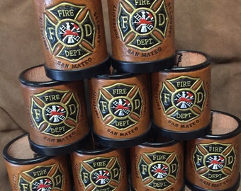 Leather Dice cups personalized, customized and handmade