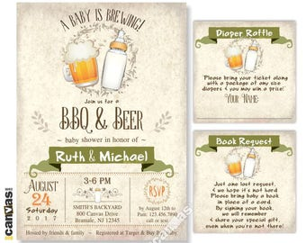 Beer & BBQ Baby Shower Invitation, A Baby Is Brewing, Coed Couples Invitations Baby Girl Boy Vintage Rustic Babyq Printable OR Printed Bs311