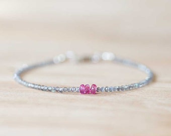 Skinny Labradorite Bracelet with Pink Sapphire, Rose Gold Filled or Sterling Silver, Delicate Labradorite Jewelry