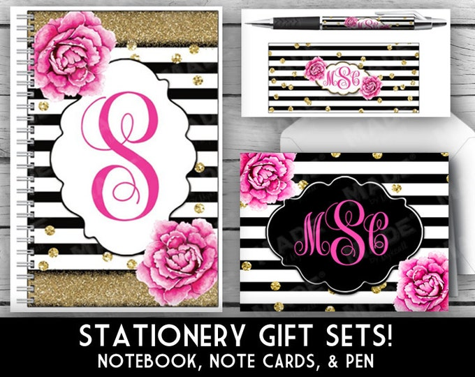 MONOGRAM Stationery Set - Pink Peony, Gift Sets, Note Pad, Note Cards, Pen, Gold Glitter, Stationery, Printed Stationery, Christmas Gifts