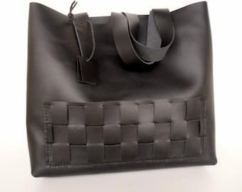 Black Leather Tote Bag -  Black Leather Travel Bag - Leather Market bag-Black Leather Tote-leather tote bag