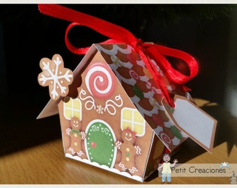 "PRINTABLE GIFT (or treats) BOX ""Gingerbread house"" (digital template)"