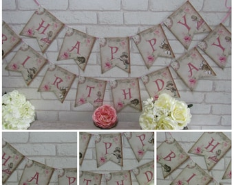 Alice in Wonderland Happy Birthday Bunting,Garland,Flag,Banner - Party,Decoration,Floral,Tea Party,Decor,