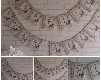 Skull Bride & Groom Happily Ever After Bunting/Garland Wedding Decoration Banner,Party,Decor,