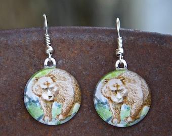 Bear Earrings, grizzly bear earrings, glass tile jewelry, round earrings, glass earrings, paper earrings, wildlife earrings, animal earrings