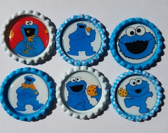Set of 6 Cookie Monster Finished Bottle Caps