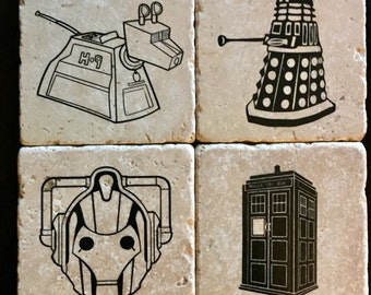 Dr. Who Coasters - TARDIS - Cyberman - Dalek - K9 - The Doctor - Tumbled Tile Coasters - Set of 4