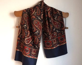 Dark navy blue soft wool and silk opera scarf, double sided, burgundy, red and beige paisley print, men's vintage classic formal accessories