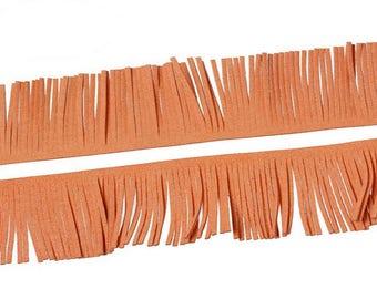 1 m braid fringe suede Orange pumpkin 57mm