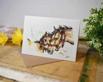 Horse and foal greeting card