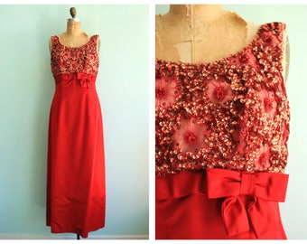 Vintage 1960's Red Satin and Sequin Gown | Size Medium