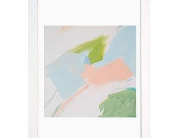 a3 Spring pink blue green Abstract  art painting print