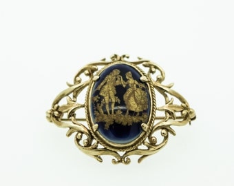 A 9ct gold openwork brooch set with a Limoges plaque   SKU890