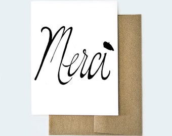 Thank you, Thanks, Thank You Card, Thank You Card Set, Merci,  Greeting Card, Thankyou Card, Hand made card, for him, for her, Card