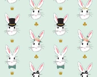 Bunny Fabric Mint Main Sparkle Wonderland 2 Melissa Mortensen Riley Blake Cotton Fabric