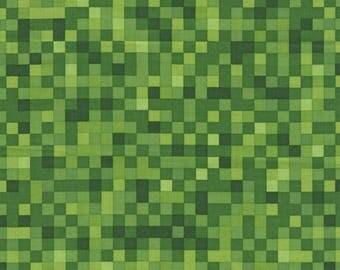Green Gamer Bit Fabric Video Game 8 BitMap Timeless Treasures Cotton Fabric