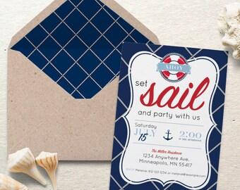 Nautical Party Invite. Set Sail Nautical Party Invite. Personalized - Digital / Printable File