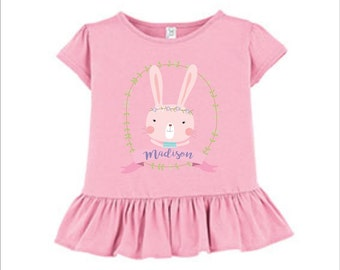 Adorable Bunny ruffle tshirt ~ Personalize ~ Customize ~ Easter