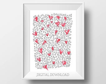 Heart Art - Love Art - Red Hearts - I Love You - Heart Gallery Wall - Valentines Day Decor - Valentines Print