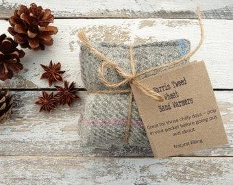 Harris Tweed Natural Wheat Handwarmers, Pocket handwarmers, Reusable, Scottish Gift, Grey Tartan Plaid Tweed, Ladies Gift
