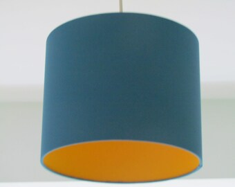 Handmade Contemporary Teal Fabric Lampshade Lightshade Lined with Sun Yellow