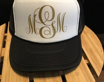 Customized Monogram Trucker Hats, Choose your initials and colors