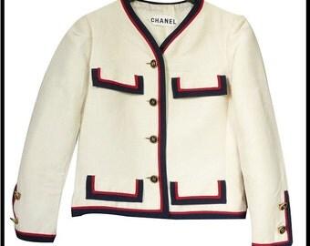 CHANEL couture - Ecru silk - vintage 60s/70s short jacket - size 34/36FR