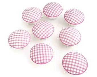 FREE SHIPPING Pink Gingham Set of 8 Knobs