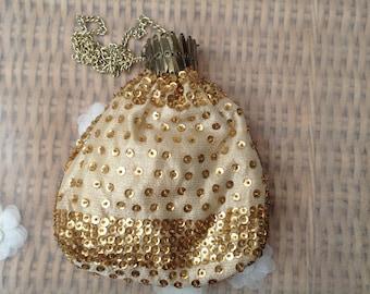 Original Vintage 1960's Gold Sequin Bag With Purse