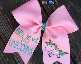 Believe in unicorns cheer bow