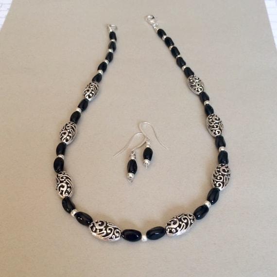 black silver necklace set beaded black necklace set black