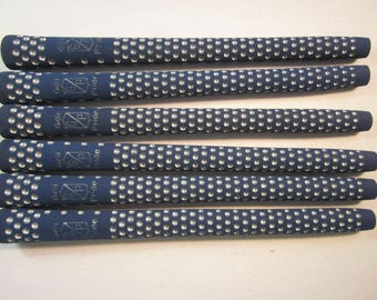 6 women's golf club grips, Golf Pride blue Dimple, 25mm, vintage new stock, made in USA
