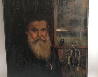 19th Century Oil Painting Of A Bearded Man Who Has Been Shooting Pheasants