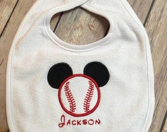 Mickey inspired personalized baseball bib or bodysuit