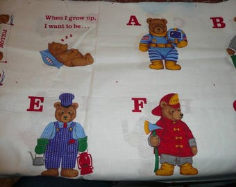 VIP Cranston   When I Grow Up I Want To Be Bears Alphabet Cotton Fabric