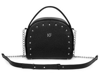 Leather Cross body Bag, Black Leather Shoulder Bag, Women's Leather Crossbody Bag, Leather bag KF-838