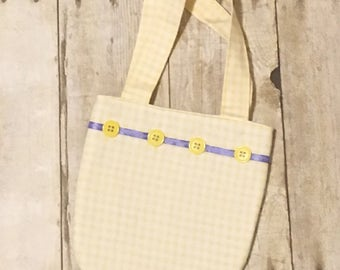 Little girls purse - Easter purse - Yellow and white gingham purse - Child's bag - Toddlers purse - Spring purse