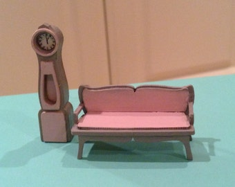 1/48, dolls house furniture, French style, longcase clock and settee