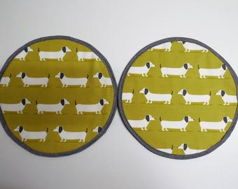 Set of 2 Aga lid covers, mats. Ochre Dachshund sausage dogs.