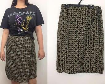 Wrap around skirt - Short buttoned skirt - Patterned wrap around skirt - Belted Skirt