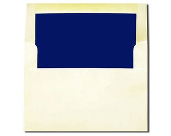 20 Cream with Navy Blue Lined Envelopes - A7 and A2 Sizes