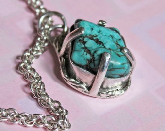 Turquoise on Silver Pendant Necklace - Norse Style - Spiral Coils Chain - Nugget of Turquoise