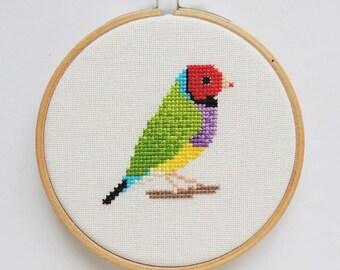 Cross stitch bird. Gouldian Finch cross stitch pattern. Rainbow finch. Small bird cross stitch. Australian bird cross stitch. Bird chart.