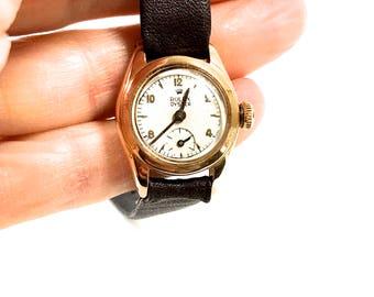 Vintage Rolex Ladies Watch, 18K Rose Gold, Rare 1946, Leather Strap, Swiss Made, 17 Jewels, Mechanical, Wind Up, Rolex Watch, Vintage Watch