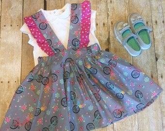 Girls Pinafore Dress, Spring Pinafore, Girls Easter Pinafore, Bicycle print pinafore dress, Bicycle print pinafore dress, Toddler Size 4-5T